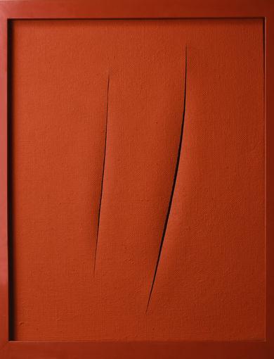 Lucio Fontana - Attese, 1961 - smalto opaco su tela con cornice laccata - 73 x 89 x 6.5 cm - GAM - Galleria Civica d'Arte Moderna e Contemporanea, Torino